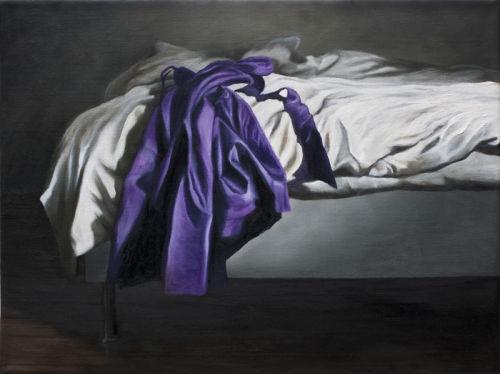 Letting Go (Purple Dress)  (2012, oil on canvas, 30 x 40 cms)
