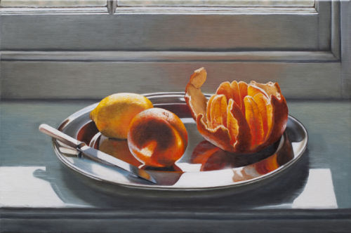 Oranges and Lemon on a Silver Plate (40 x 60 cms, oil on canvas, 2012)