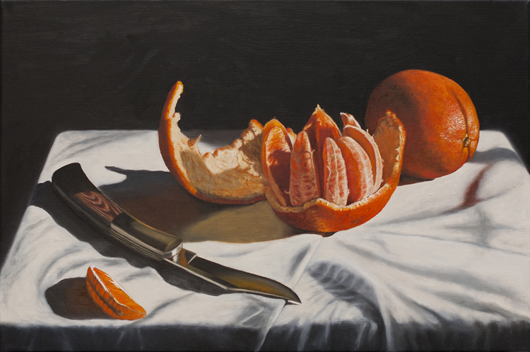 Oranges and a Pocket Knife (40 x 60 cms, oil on canvas, 2013)