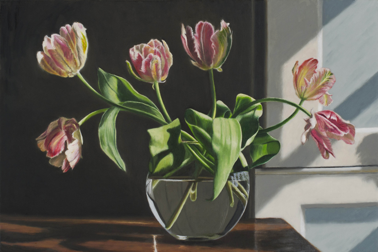 Half a Dozen Parrot Tulips  (40 x 60 cms, oil on canvas)