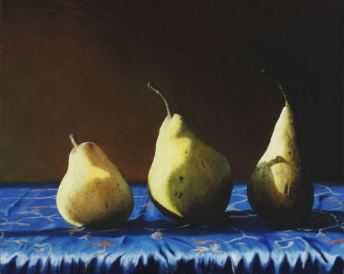 Three Pears on Blue Cloth (2007, oil on canvas, 51 x 40 cms)
