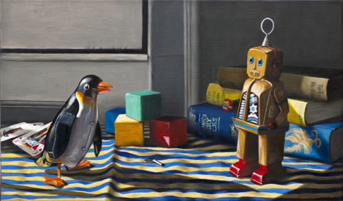A Penguin Met A Robot (2012, oil on canvas, 33 x 55 cms)