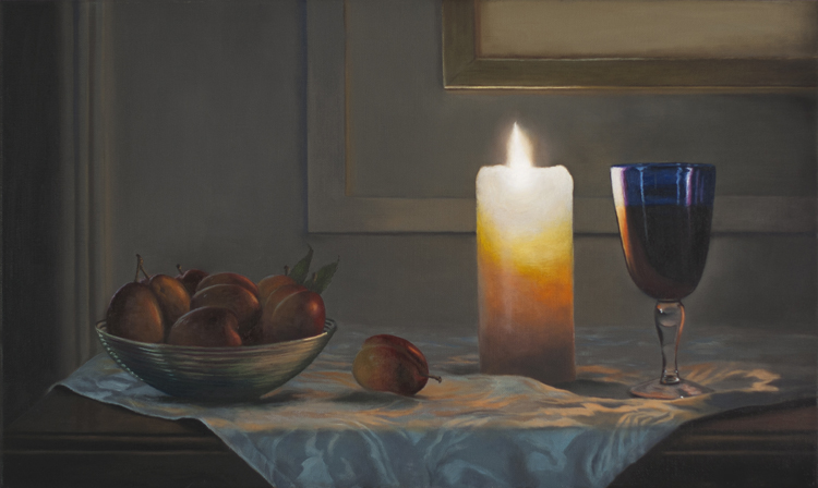 A Dish of Plums, Candlelight  (33 x 55 cms, oil on canvas, 2013)