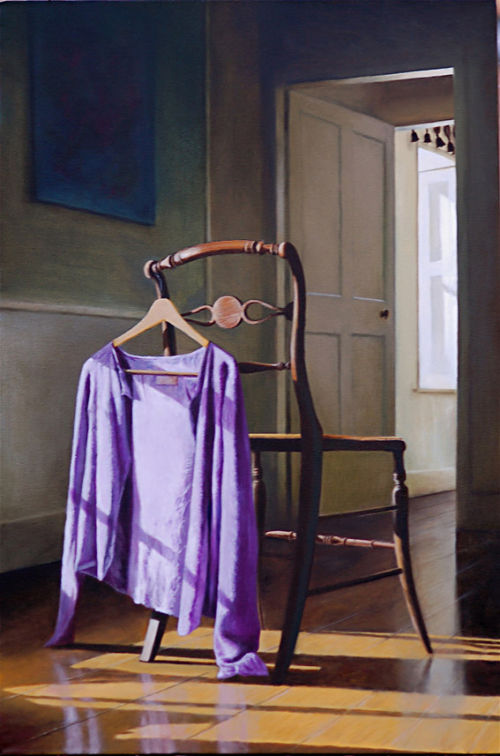 The Purple Cardigan  (2008, oil on canvas, 76 x 51 cms)