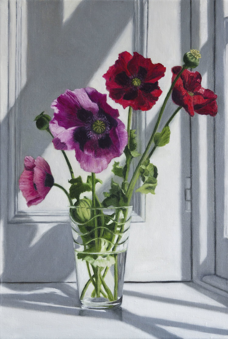 Red and Pink Poppies (40 x 60 cm, oil on canvas)