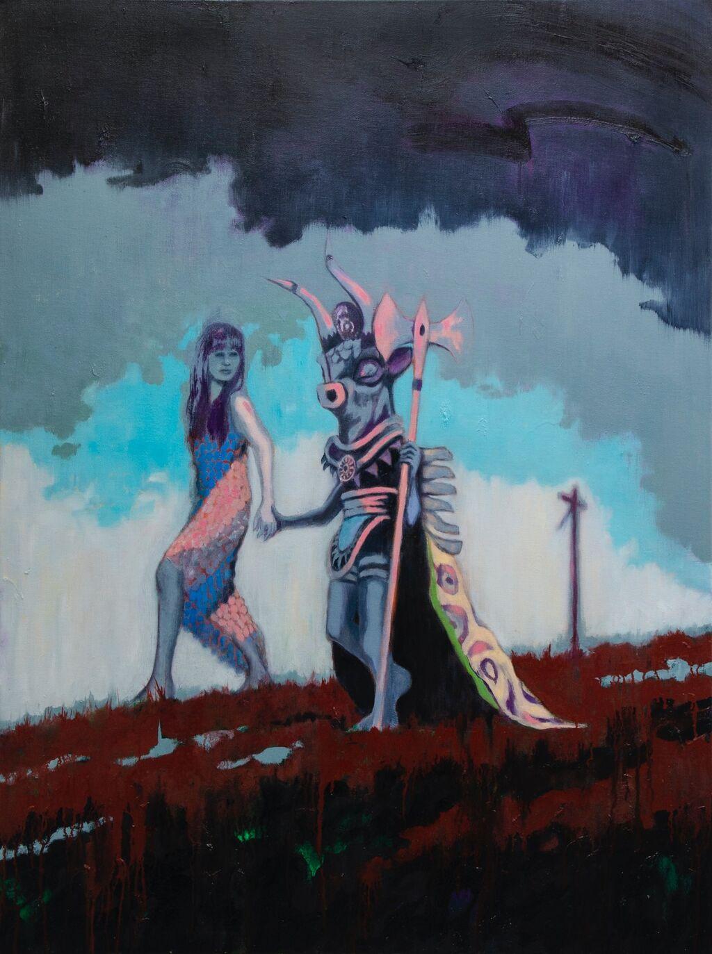 'She Took the Hand of the Boy Minotaur', 75 x 101 cm, oil on canvas