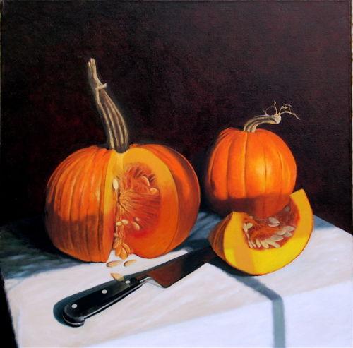 Slicing Pumpkins(2006, oil on canvas, 60 x 60 cms)