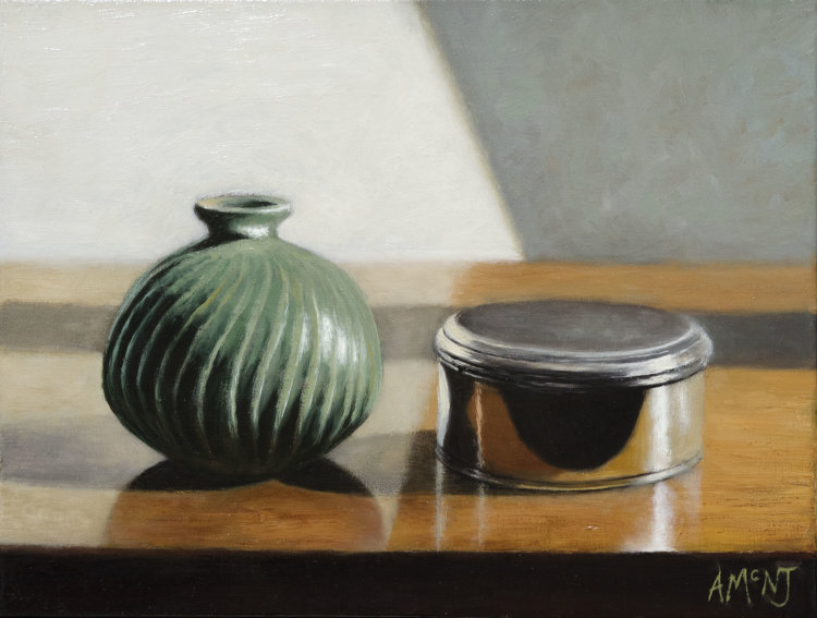 Small Green Vase and Silver Pot (40 x 30 cm, oil on canvas)