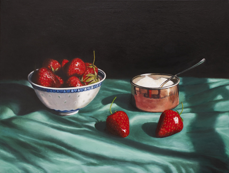 Strawberries and Sugar Bowl II (2008/2013, oil on canvas, 45 x 61 cms)