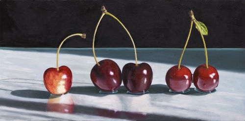 Sweet and Sour Cherries (2011, oil on canvas, 30 x 60 cms)