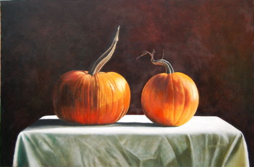 Two Whole Pumpkins(2006, oil on canvas, 90 x 60 cms)