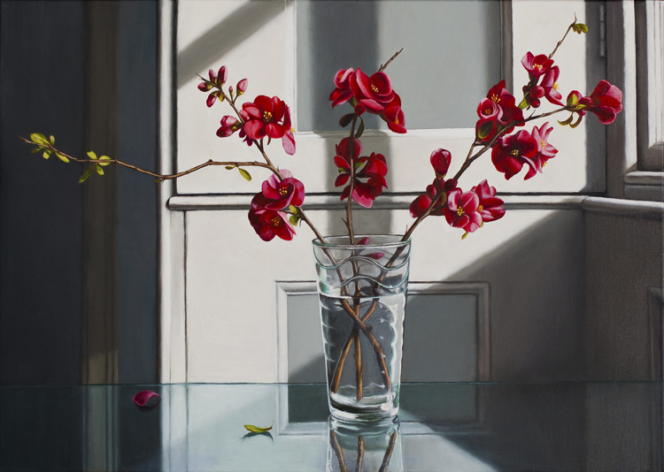 A Vase Of Japonica Stems (50 x 70 cms, oil on canvas, 2012)