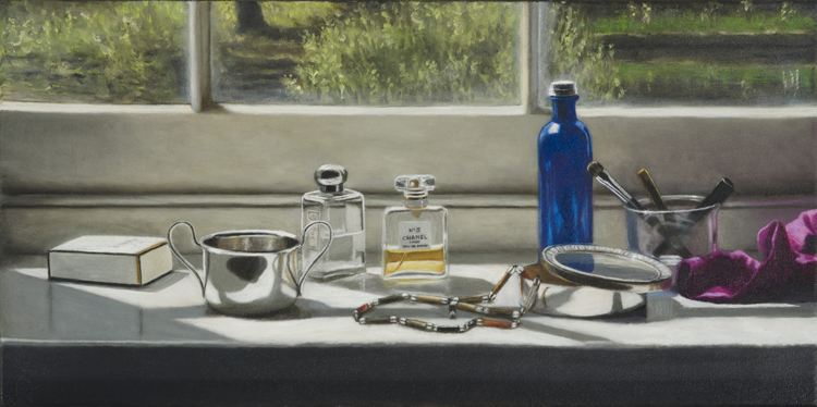 A Windowsill with Perfumes and Beads  (30 x 60 cm, oil on canvas)