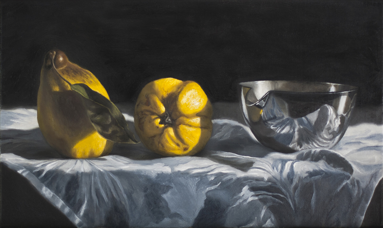 Yellow Quinces and Silver Bowl  (33 x 55 cms, oil on canvas, 2013)