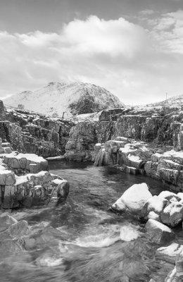 Winter storm in Glen Etive