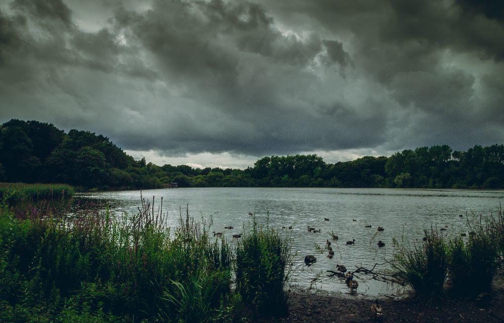 Storm clouds over Chard Reservoir