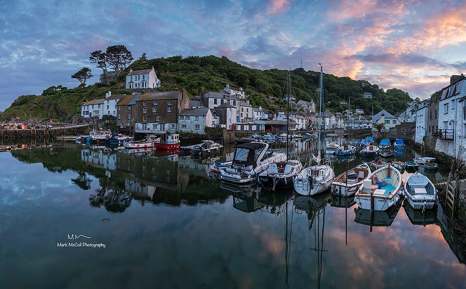 Polperro at sunset, Cornwall
