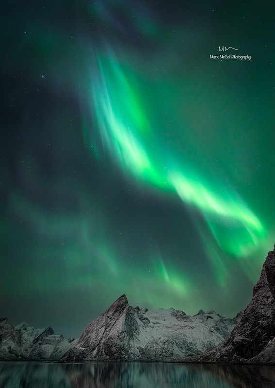 Aurora near Hamnoy, Lofoten islands, Arctic Norway