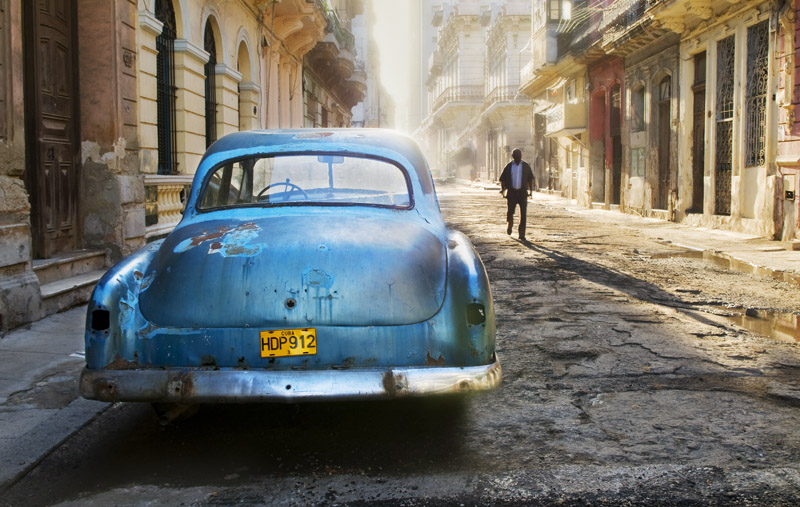 The blue car, Havana, Cuba