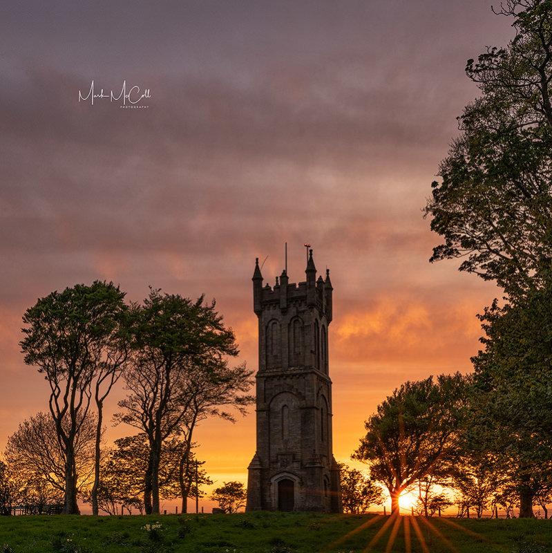 Sunset at Barnweil monument, Ayrshire, Scotland