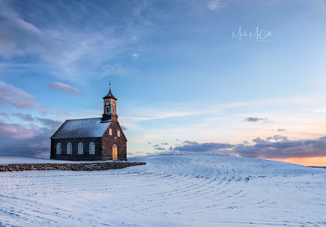 Icelandic church at sunset, Hvalsnes, Iceland