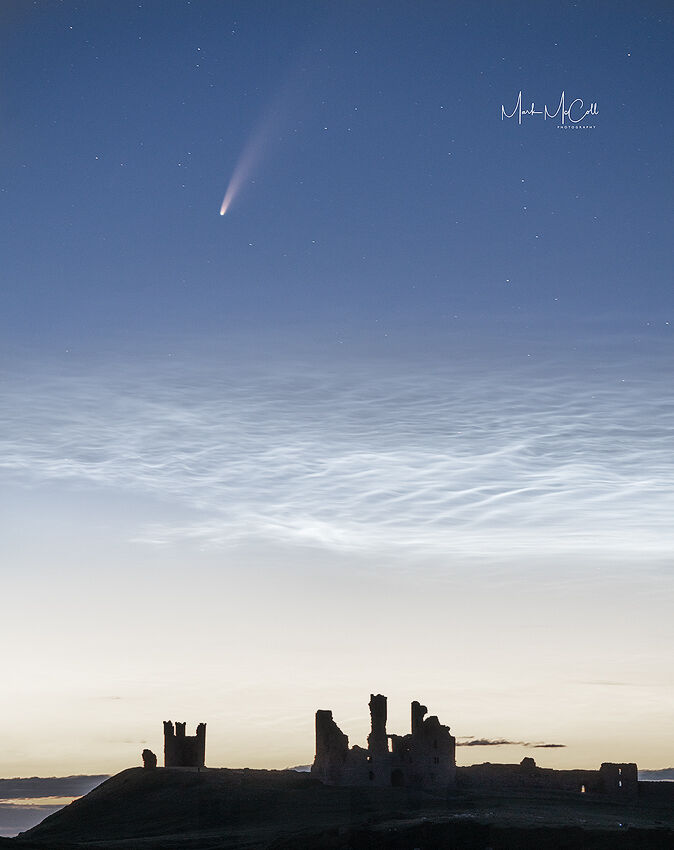 Comet Neowise and Nocilucent clouds, Dunstanburgh Castle, England