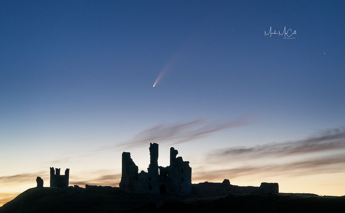 Comet Neowise from Dunstanburgh ruins, England