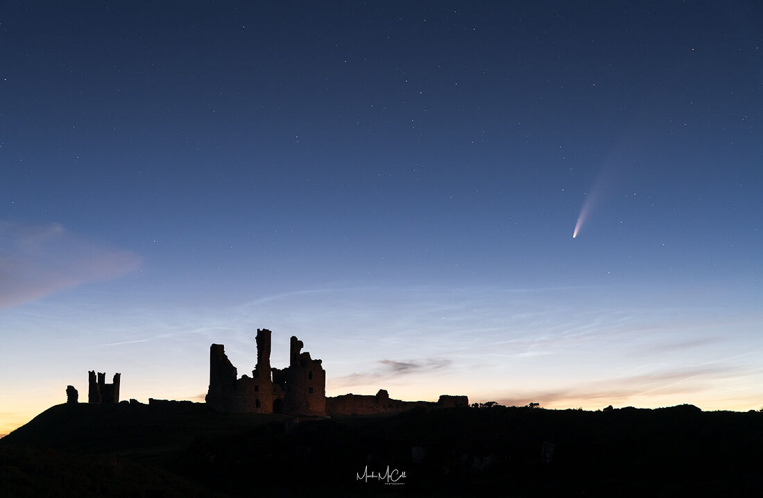 Dunstanburgh Castle and Comet Neowise, Northumberland, England