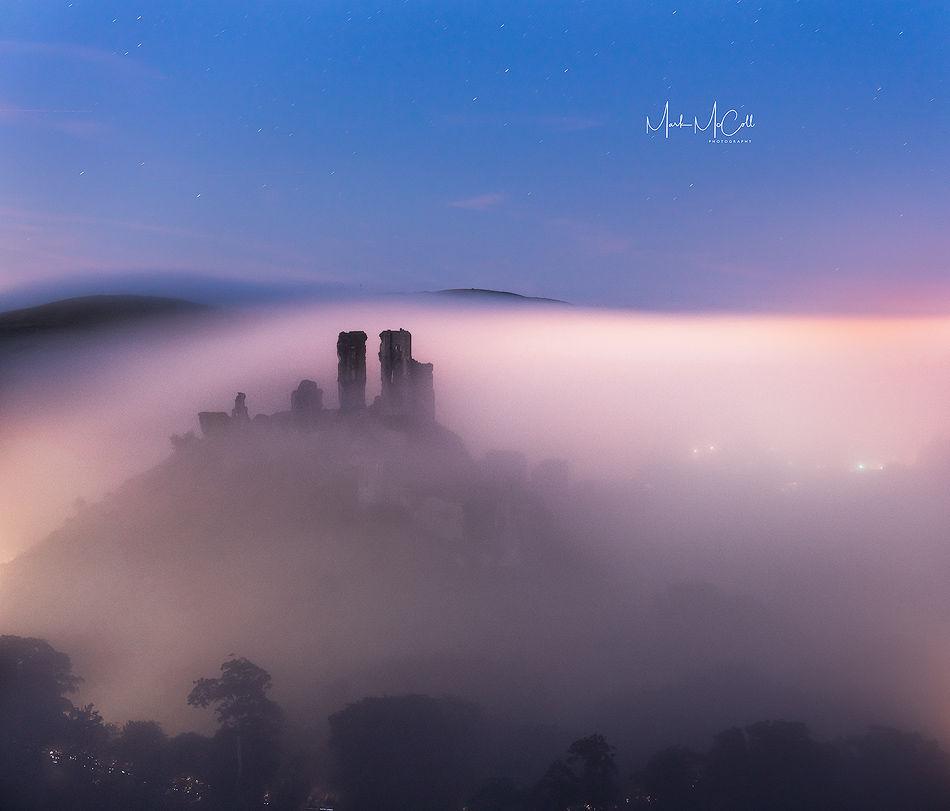 Evening mist, Corfe Castle, Dorset, England