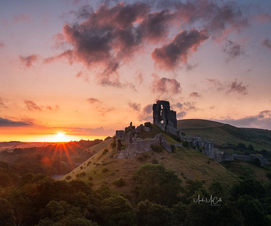 Summer dawn, Corfe Castle, Dorset, England