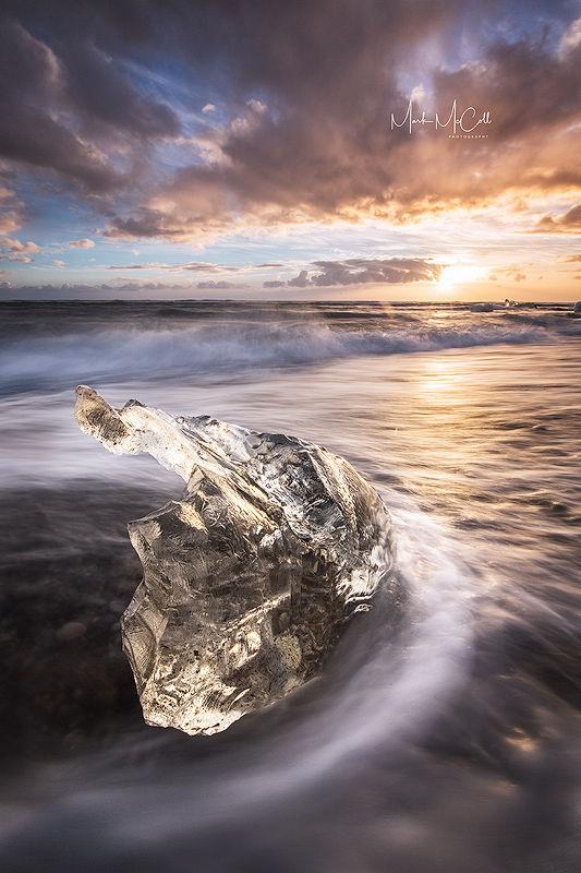 Golden diamond,Jokulsarlon, Iceland
