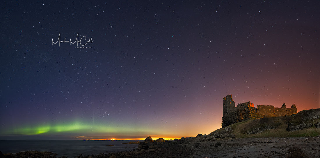 Dunure Castle Aurora (panoramic), Ayrshire, Scotland