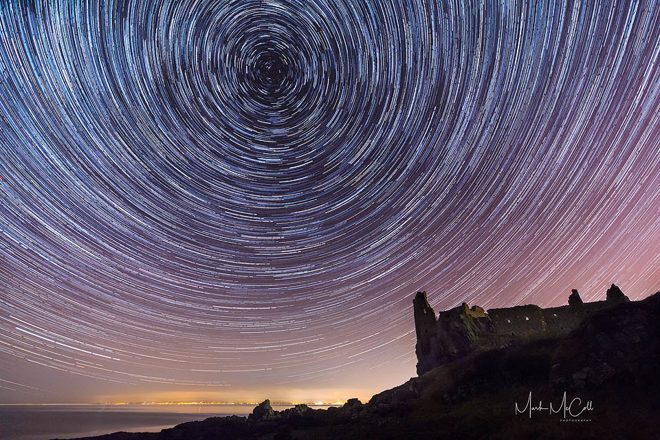 Dunure Castle star trails, Ayrshire, Scotland