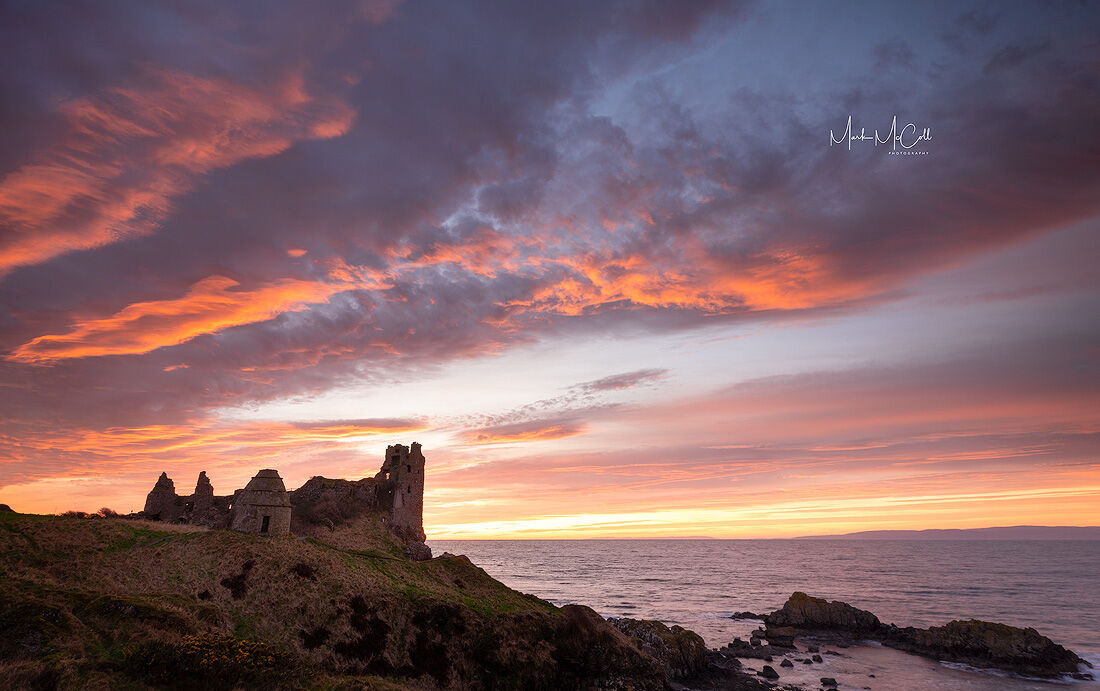 Winter sunset, Dunure Castle, Scotland
