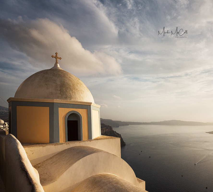 Fira church at sunset, Fira, Santorini