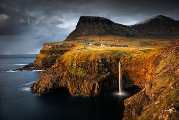 Gasadalur and Mulafossur waterfal (colour), Faroe Islands