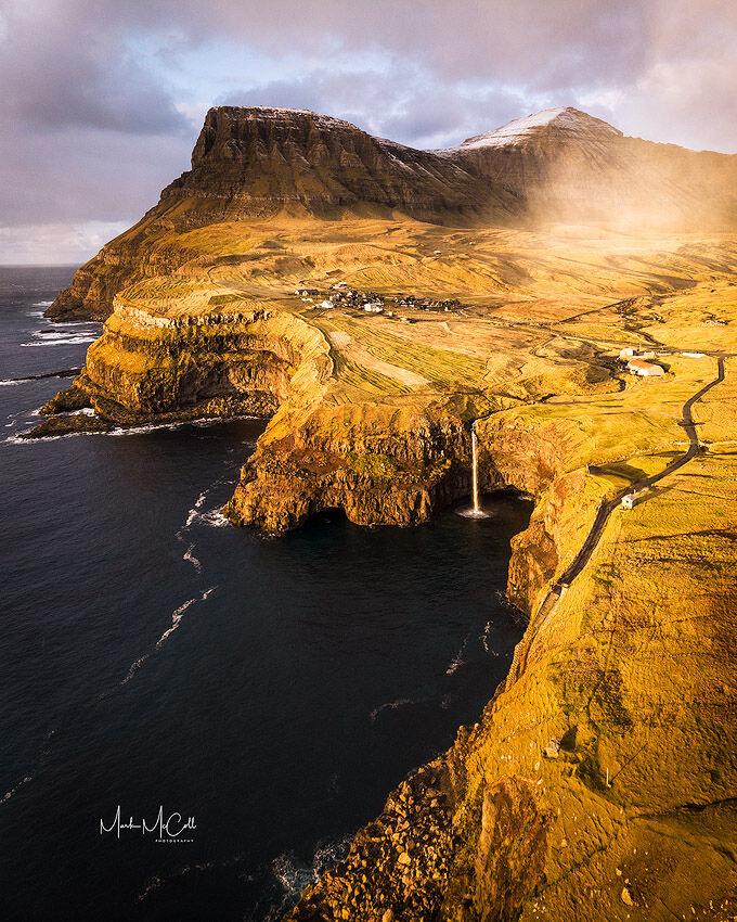 Gasadalur and Mulafossur waterfall, Faroe Islands