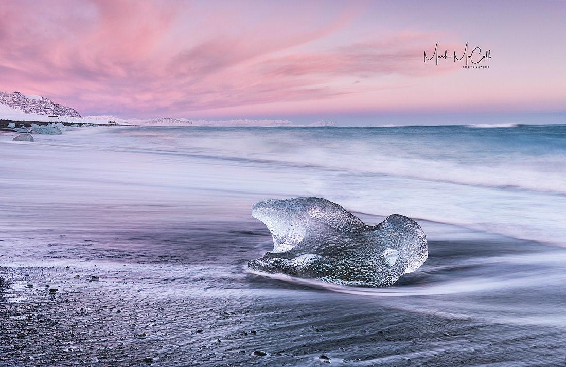 Pink sunset, Jokulsa beach, Iceland