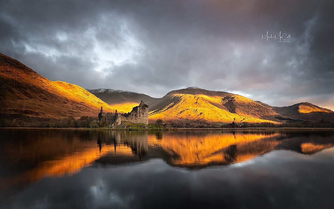 Hills on fire, Kilchurn castle, Loch Awe, Scotland