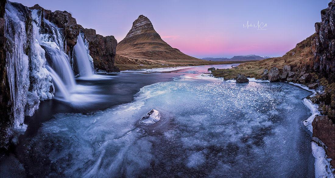 Pink sunset, Kirkjufell, Iceland
