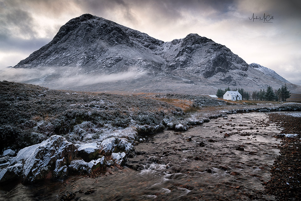 Mist and snow, Lagangarbh, Glencoe, Scotland