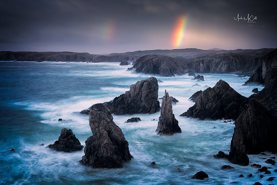Sea Stacks and rainbow, Mangersta, Isle of Lewis, Outer Hebrides