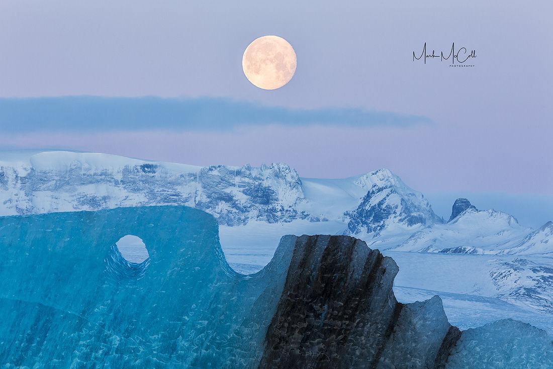 Moon and Iceberg, Jokulsarlon, Iceland