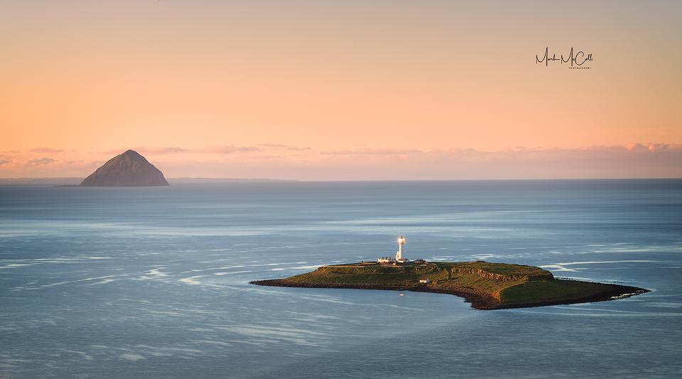 Pladda lighthouse and the Ailsa Craig, Arran, Ayrshire, Scotland