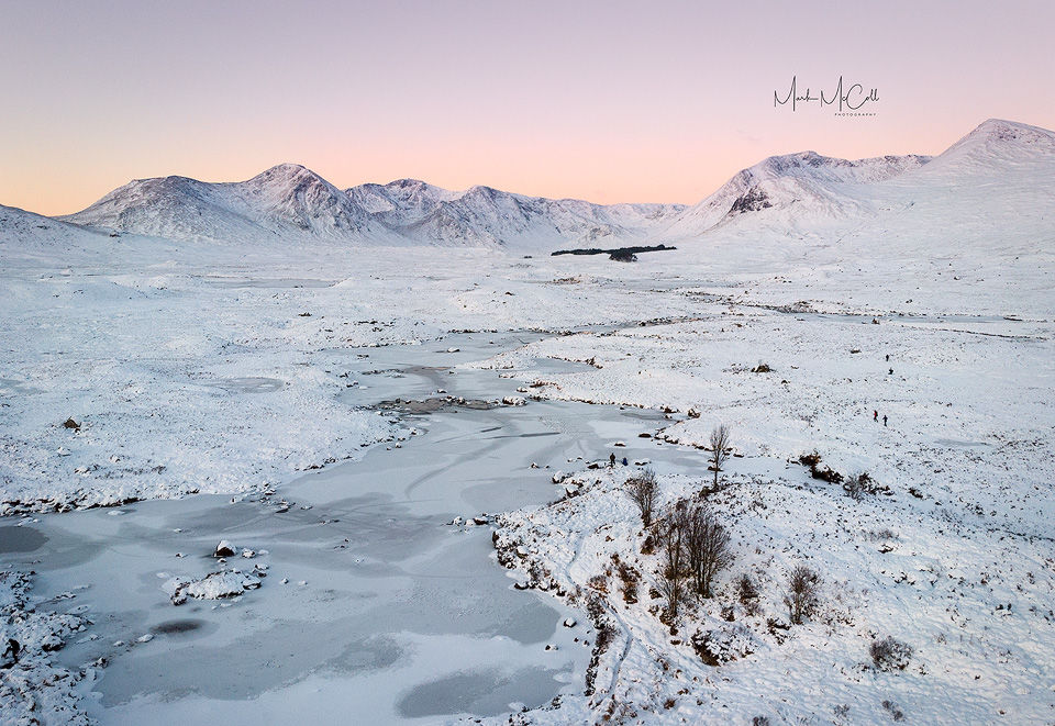 Dawn on Rannoch Moor (aerial view), Scotland
