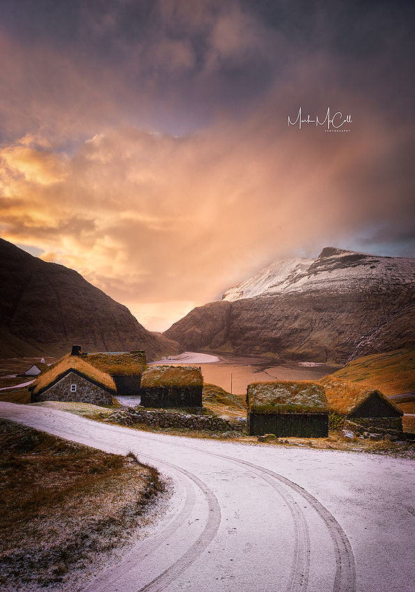 Saksun winter sunset, Faroe islands