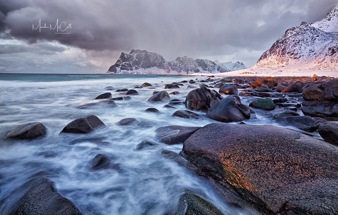 Stormy sunset, Utakliev, Lofoten Islands