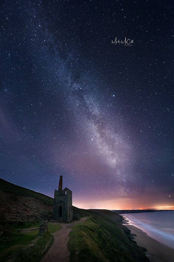 Wheal Coates tin mine under the stars, Cornwall