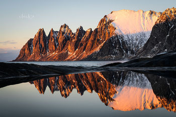Dragons (devils) teeth sunset, Tungeneset, Senja, Arctic Norway