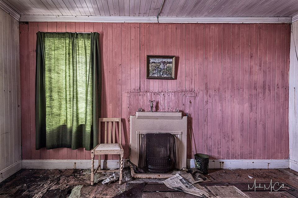 Abandoned house interior, Harris, Outer Hebrides, Scotland